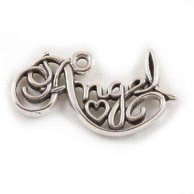Carrier Bead Soldered Connection Angel Word 925 Sterling Silver Dangle Charm