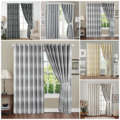 Luxury Jacquard Eyelet Ring Top Ready Made Lined Long Wide Window Curtains Panel
