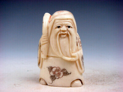 Japanese Detailed Hand Carved Netsuke Old Man Big Beard Carrying Fan #12111907