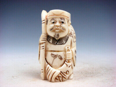 Japanese Detailed Hand Carved Netsuke Fisherman Holding Pole Big Fish #12111911