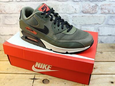 Mens Nike Air Max 90 Khaki Leather Mesh Sport Sneakers Active Trainers Uk Size 9