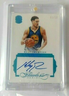 2017-2018 Flawless Klay Thompson Premium Ink Blue Autograph #03/10