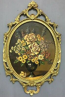 Antique 19th French Century Oil On Board Painting In Gold Gilt Frame