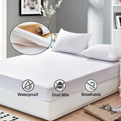 Breathable White King Size Waterproof Mattress Pad Bed Protector Cover Dust Mite