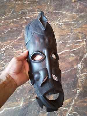 Rare antique carved wooden masks, ancient hands,African tribe culture 14x38cm