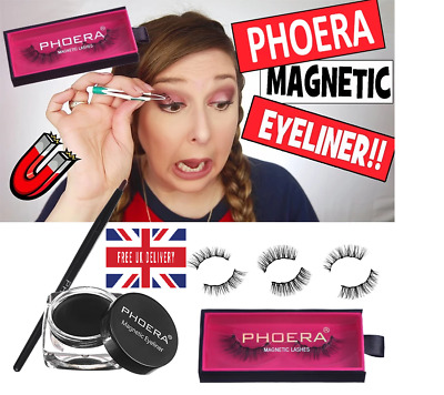 Phoera Fake Magnetic Eyelashes Reusable Eyeliner Waterproof Eye Liner False Lash