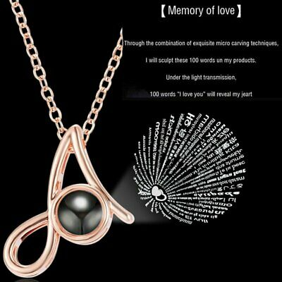 26 Initial 100 Languages I Love You Pendant Necklace Light Projection Women Gift