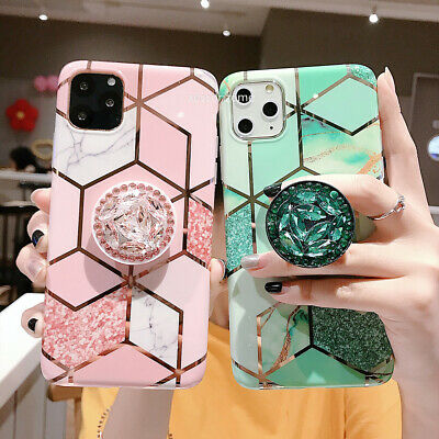 iPhone 11 Pro Max XR 8 7Plus XS Geometric Marble Case  with Pop Up Holder Socket