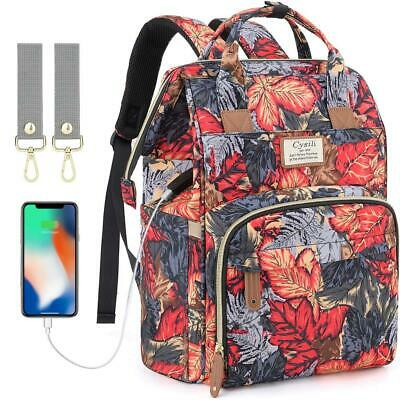 Diaper Bag Backpack with USB Charging Port and Stroller Large, Maple Leaf