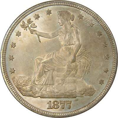 1877 $1 Trade Silver Dollar Coin Uncirculated Details