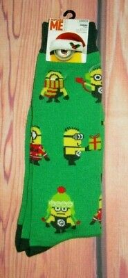 Mens Despicable Me Minions Christmas Crew Socks Shoe Size (6.5 - 12)