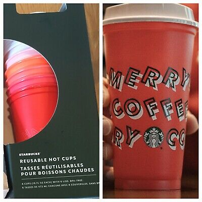 NEW Starbucks Christmas 6 Pack REUSABLE HOT CUPS And 1 Red Merry Coffee 16oz Cup