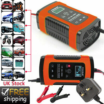 Car Battery Charger 12V 5A LCD Intelligent Automobile Motorcycle Pulse Repair UK