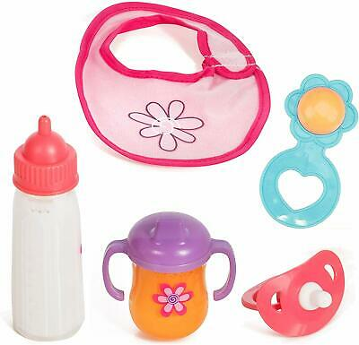 Mommy & Me Baby Doll 5 Piece Feeding Set; A Magic Disappearing Milk Bottle & Cup