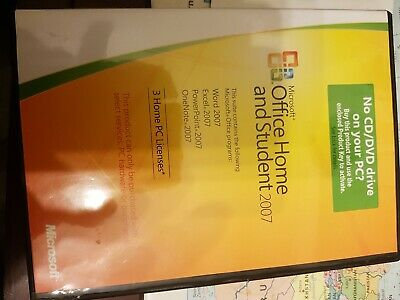 genuine microsoft office home and student 2007 with product code