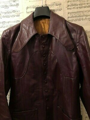 RARE Vintage 1960s Penny Collar Leather Jacket by Mastacut Oxblood Red Size XS