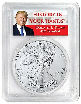 2020 1oz Silver Eagle PCGS MS70 - Donald Trump Label