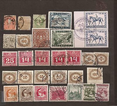 AUSTRIA-30 Used & 'bit better' stamps-various eras, for fill