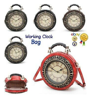 Women's Vintage Clock Style Hand Bag With Working Clock/Novelty Bag/Great Gift
