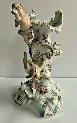 19Th Century Szitsendorf Porcelain Candle Holder With Cupids