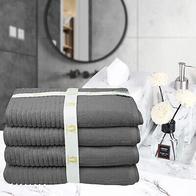 RIBBED EGYPTIAN COTTON BATH TOWEL SET | 4 Piece Bath Towel 4 colours