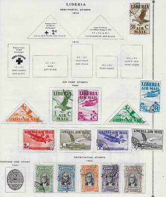 15 Liberia Air Post & Registration Stamps from Quality Old Album 1903-1938