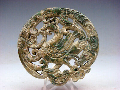 Old Nephrite Jade Stone 2 Side Carved LARGE Pendant Phoenix Bird Ingot #04131925