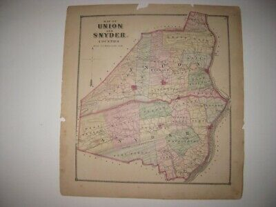 Antique 1868 Union Snyder County Pennsylvania Handcolor Map Middleburg Lewisburg