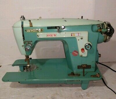 Vintage White Singer Turquoise Blue Sewing Machine Mid Century