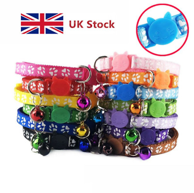 Cat Collar Cats Print Kitten Collar Cute Paw Bell Adjustable Safety Release UK