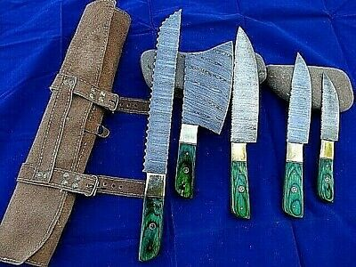 5 Green Brass Handmade Damascus Steel Kitchen Chef Knife & Hunting_LEATHER ROLL