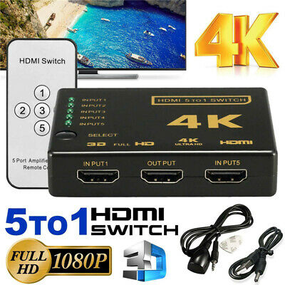 5 To 1 HDMI Splitter Selector Switch Full HD 1080p 3D 2K 4K IR Remote Hub 5 Port