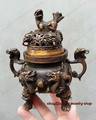 China classical Bronze Signed Lucky Dragon Statue Incense Burner Censer