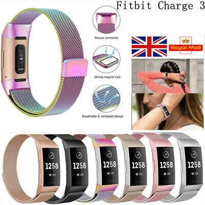 For Fitbit Charge 3 Watch Strap Replacement Milanese Band Stainless Steel Magnet