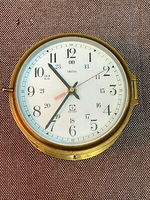 Smiths Ships Clock . Brass Case , Battery Movement . Made In Great Britain