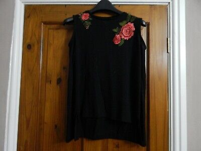Girls Cold Shoulder Black Top with Roses Age 12-13 years