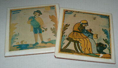Two Old illustrated Wall Tiles - Man Playing Bagpipes Woman With Cat - Spain