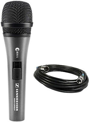 Sennheiser e835-S+Cable Handheld Dynamic Cardioid Mic and On/Off Switch Bundle