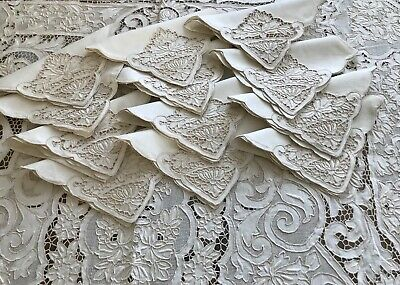Antique/Vtg Elaborate Heavy Embroidered Madeira Tablecloth 12/Naps*Fab Condition