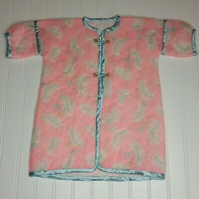 Vintage Pink Floral & Feather Quilted Toddler or Baby Girl's Robe Kimono