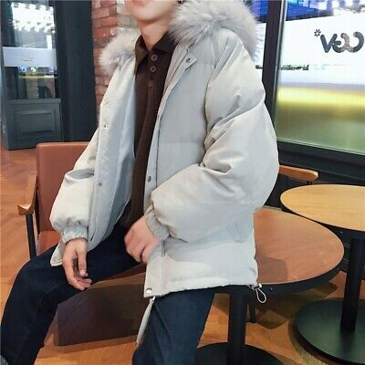 Winter Men's Korean Short Jacket Quilted Padded Cotton Outwear Thick Warm Casual