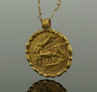 BEAUTIFUL ANCIENT ROMAN GOLD NECKLACE  QUADRIGA PENDANT - 2nd Century AD   (025)
