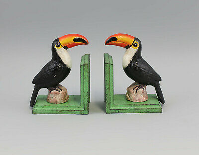 9973141-dss Book Support Bird Toucan Iron Colourful Rustic