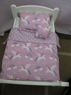 "Dolls  Bedding 3 piece reversiable PRAM set ""Pegasus Mauve""(Mauve spots )REDUCED"