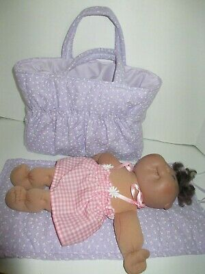 "Dolls Nappy Bag & Change pad, "" Mauve tiny White Flowers "" REDUCED"""