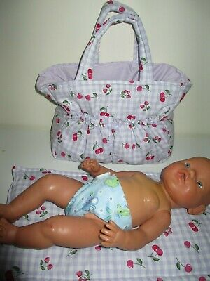 "Dolls Nappy Bag & Change pad,  "" Gingham - Cherries Etc Mauve  ""REDUCED"