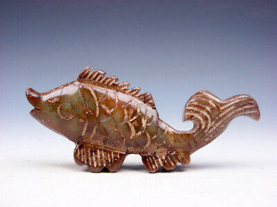 Old Nephrite Jade Stone Carved Sculpture Ancient Fish w/ Curly Tail #10021901