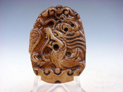 Old Nephrite Jade Hand Carved *Furious Curly Dragon* Pendant #10171906