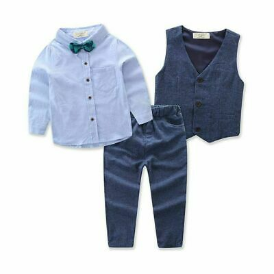 Kids Baby Boys Gentleman Outfits Set Shirt Tops Coat Pants Wedding Party Clothes