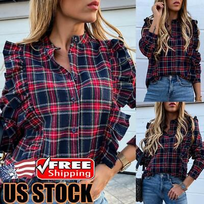 Women Long Puff Sleeve Plaid T Shirt Ladies Casual Loose Button Down Blouse Tops